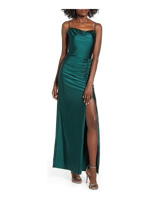 Speechless ruched side slit stretch satin maxi dress