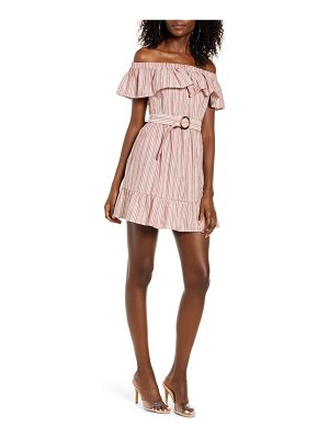 Speechless stripe belted off the shoulder minidress