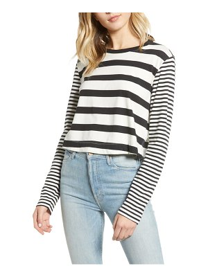 Splendid cody stripe crop long sleeve tee
