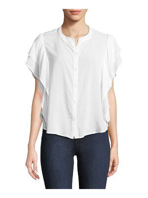 Splendid Paradise Cove Ruffle-Sleeve Button-Front Top