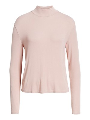 Splendid ribbed mock neck crop top