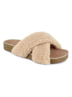 Splendid rozi genuine shearling blend slide sandal