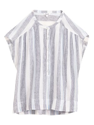 Splendid sea stripe linen-blend top