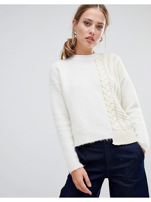 SPORTMAX CODE fluffy and cable knit sweater-cream