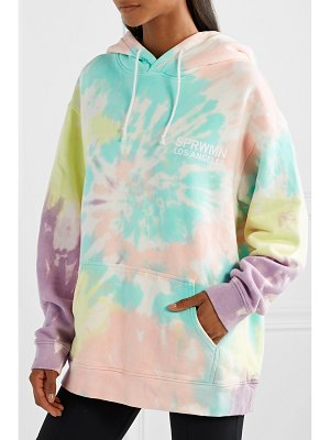 SPRWMN printed tie-dyed cotton-jersey hoodie