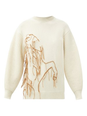 Ssone joanie embroidered recycled-cashmere sweater