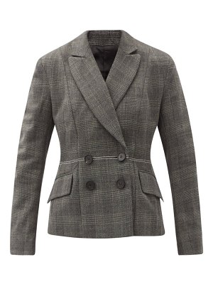Ssone lyre prince of wales-check wool suit jacket