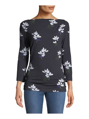 St. John 3/4-Sleeve Painted Floral Jersey Drape T-Shirt