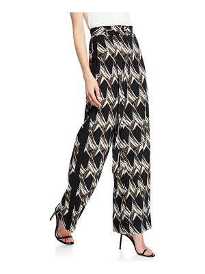 St. John Abstract Floral Tile-Print Silk Georgette Wide-Leg Pants