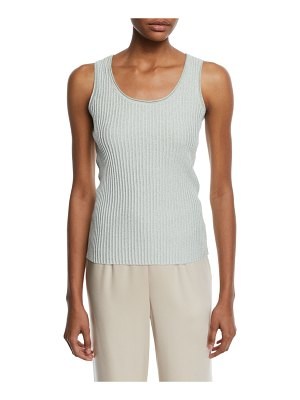 St. John Aria Scoop-Neck Ribbed Shell