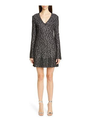 St. John bejeweled long sleeve texture knit cocktail dress
