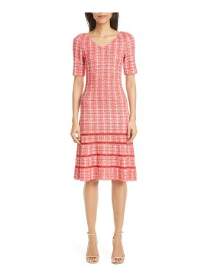 St. John bold vertical tweed knit dress