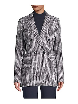 St. John contrast geometric knit wool-blend jacket