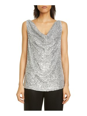 St. John Evening starlight sequin mesh top