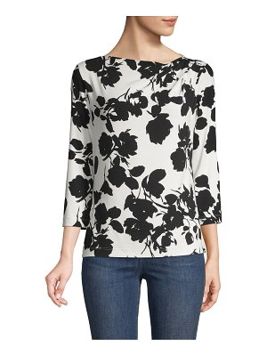 St. John Floral Pleated Top