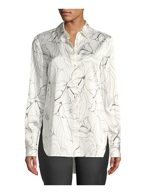 St. John Floral-Print Button-Down High-Low Silk Charmeuse Blouse