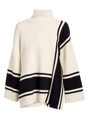 St. John funnelneck stripe wool sweater