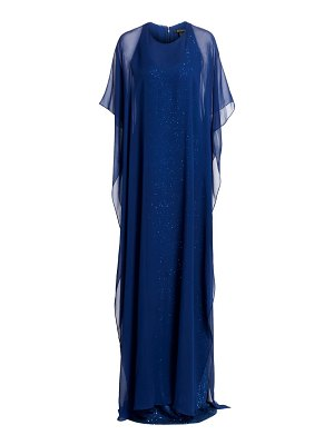 St. John georgette cape overlay sequin gown