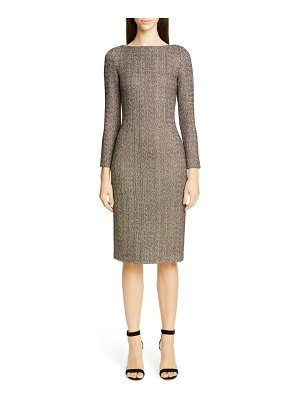 St. John golden evening shimmer knit sweater dress