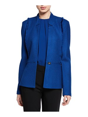 St. John Gridded Texture Knit Jacket with Notch Collar & Fringe Trim