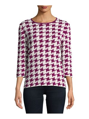 St. John Houndstooth Three-Quarter Sweater