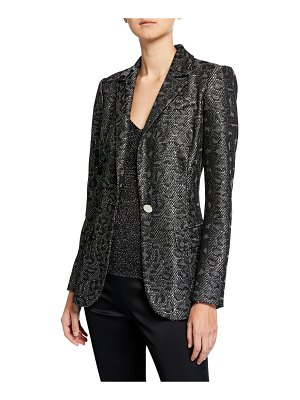 St. John Jacquard Animal-Print Sequin Jacket