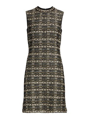 St. John metallic bouclé tweed knit sheath dress