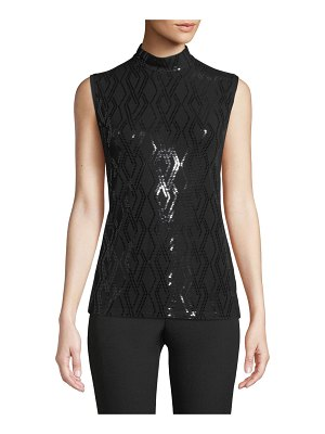 St. John Mock-Neck Sleeveless Sequined Jersey Top