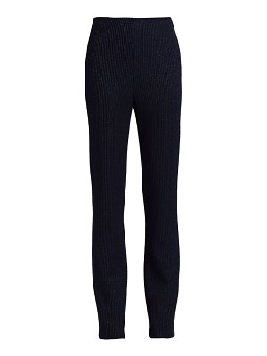 St. John ottoman-stripe metallic knit trousers