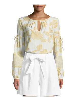 St. John Outlined Painted Floral Silk Peasant Blouse