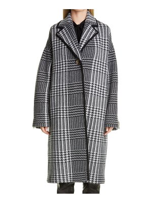 St. John prince of wales felted plaid knit coat