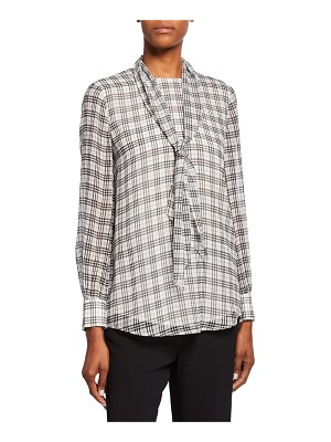 St. John Prince Of Wales Plaid-Print Tie-Neck Silk Blouse