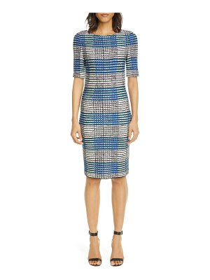 St. John ribbon plaid knit sheath dress