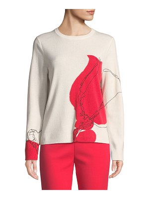 St. John Jersey Knit Cashmere Embroidered Sweater