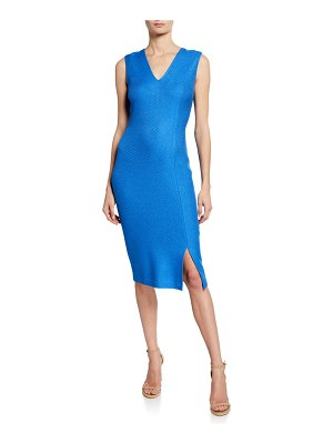 St. John Sarga Knit Twill V-Neck Sleeveless Dress with Slit