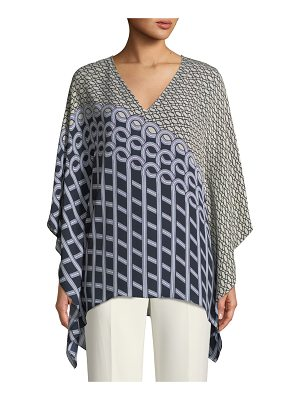 St. John Satin Silk Georgette Chain Swirl Kaftan Top