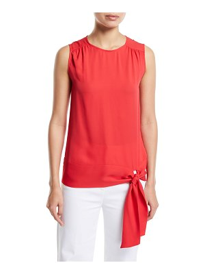 St. John Satin Silk Georgette Sleeveless Top w/ Shirring Detail & Tie