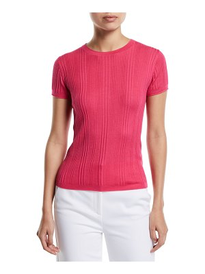 St. John Short-Sleeve Superfine Variegated Rib Top