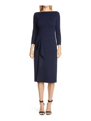 St. John side drape milano knit wool sheath dress