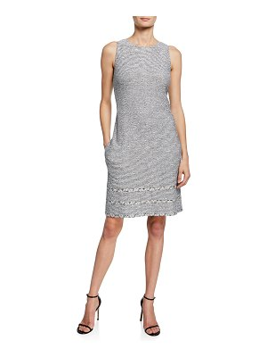 St. John Sleeveless Crepe Tweed Knit Trim Dress