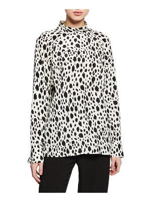 St. John Snow Leopard Print Long-Sleeve Top with Stand Collar
