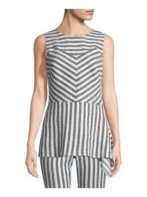 St. John Stretch-Linen Multi-Stripe Twill Asymmetric Shell