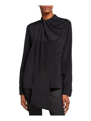 St. John Stretch-Silk Blouse with Sequined Drape-Neck