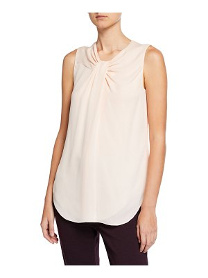 St. John Twisted-Neck Silk Georgette Shell Top