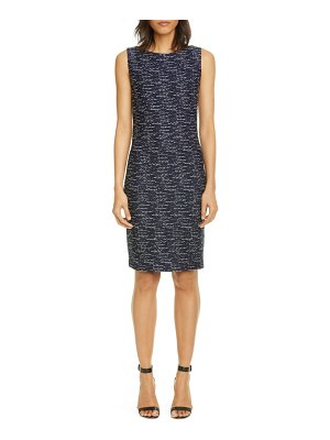 St. John two-tone float knit tweed sheath dress