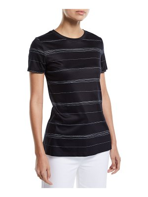 St. John Wavy Stripe-Print Short-Sleeve Interlock Jersey T-Shirt