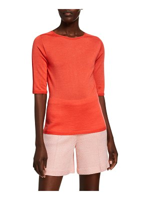 St. John Wool-Silk Jersey 1/2-Sleeve Top