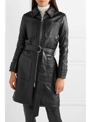 STAND keren belted leather coat