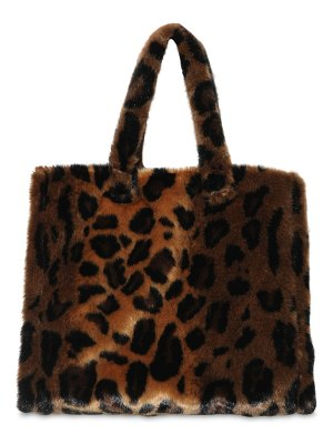 STAND Lola animal printed faux fur tote bag