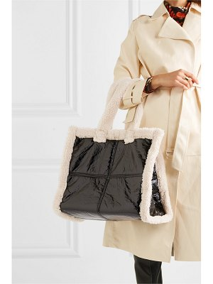 Stand Studio lola faux shearling-trimmed crinkled faux leather tote
